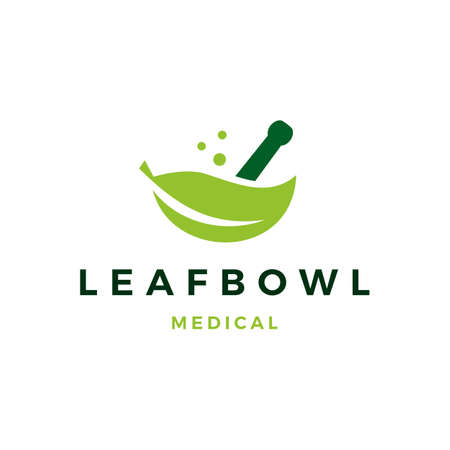 leaf medical bowl mortar logo vector icon illustration Vettoriali