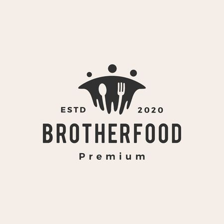 brother beef hipster vintage logo vector icon illustration