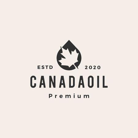 canada oil hipster vintage logo vector icon illustration