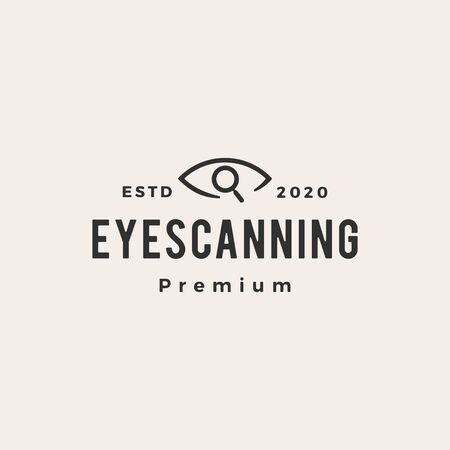 eye scanning hipster vintage logo vector icon illustration