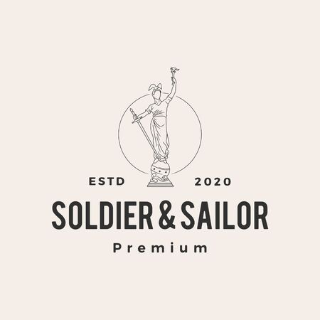 soldier and sailor statue hipster vintage vector icon illustration