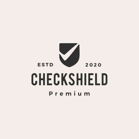 check shield hipster vintage vector icon illustration