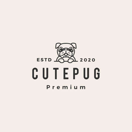 cute pug dog hipster vintage vector icon illustration