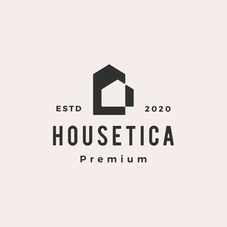 house home mortgage roof architect hipster vintage vector icon illustration