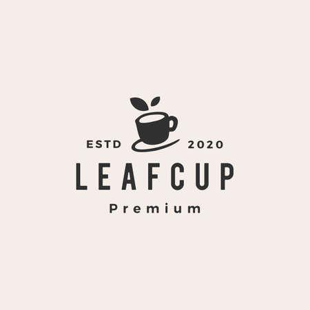 leaf cup tea herbal hipster vintage vector icon illustration
