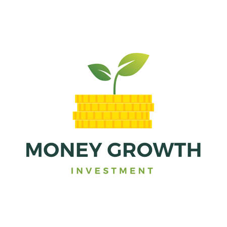 money growth coin leaf sprout vector icon illustration 일러스트