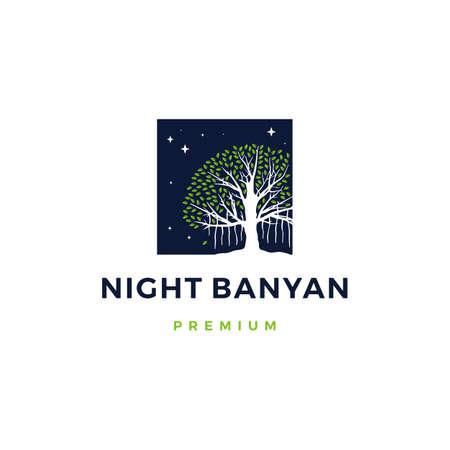 night banyan tree vector icon illustration
