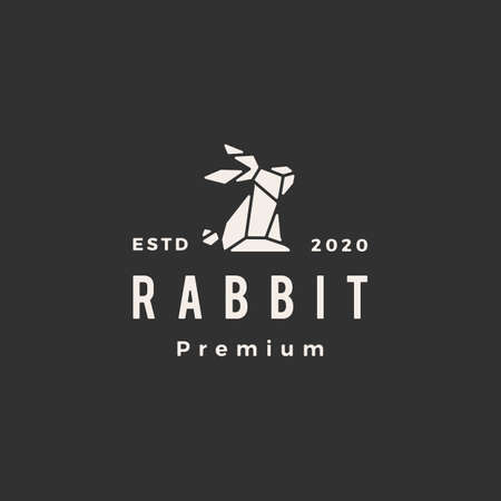 geometric rabbit hare bunny hipster vintage vector icon illustration