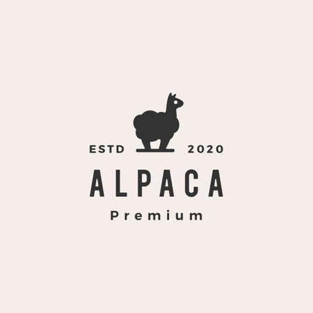 alpaca hipster vintage logo vector icon illustration