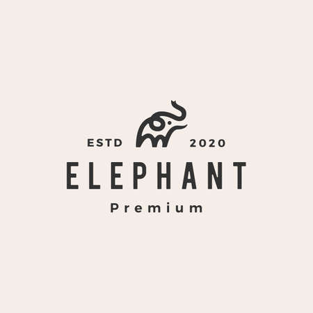 little elephant hipster vintage logo vector icon illustration