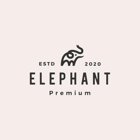 little elephant hipster vintage logo vector icon illustration