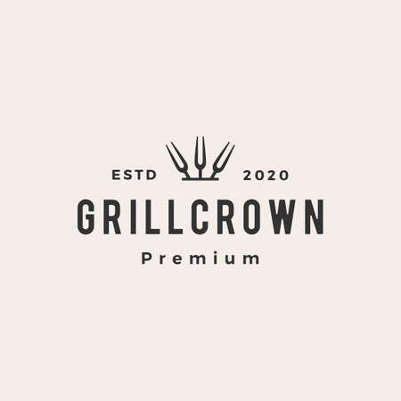 grill crown king fork hipster vintage logo vector icon illustration
