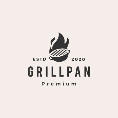 grill pan fire flame hipster vintage logo vector icon illustration