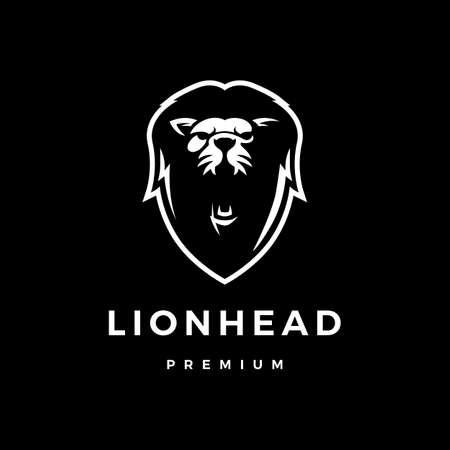 lion head logo vector icon illustration Ilustracja