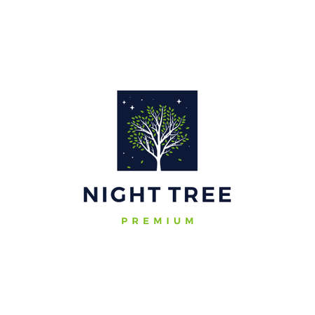 night tree logo vector icon illustration