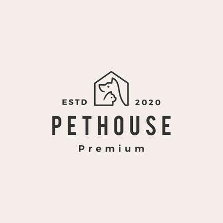 pet house dog cat hipster vintage logo vector icon illustration 写真素材 - 150643092