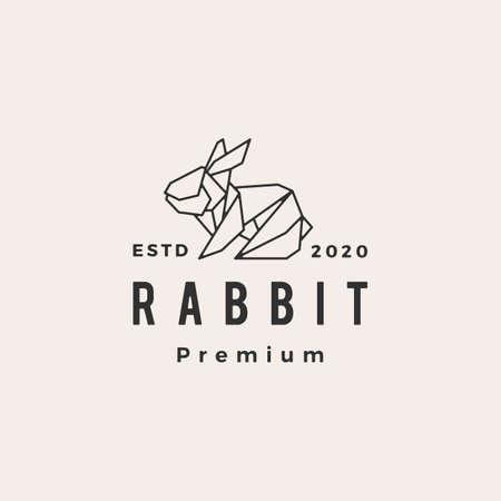 origami rabbit hare bunny hipster vintage logo vector icon illustration Stock Illustratie