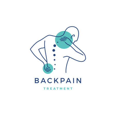 back pain treatment logo vector icon illustration