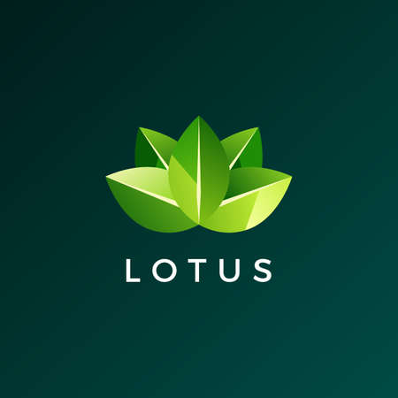 lotus leaf logo vector icon illustration