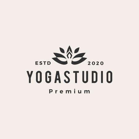yoga hipster vintage logo vector icon illustration