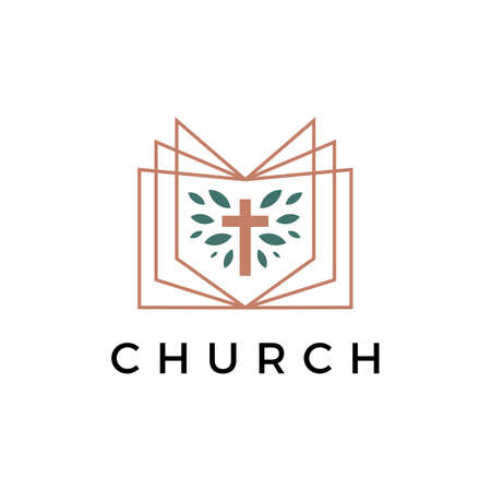church book cross leaf logo vector icon illustration