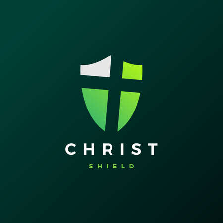 shield christ logo vector icon illustration Archivio Fotografico - 150957735