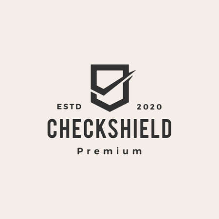 check shield hipster vintage logo vector icon illustration