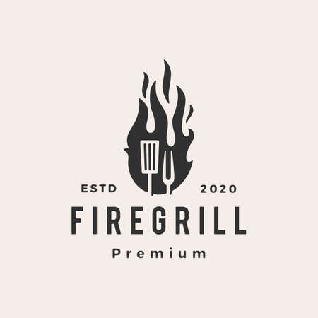 fire flame grill spatula fork hipster vintage logo vector icon illustration