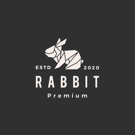 origami rabbit hare bunny hipster vintage logo vector icon illustration 일러스트