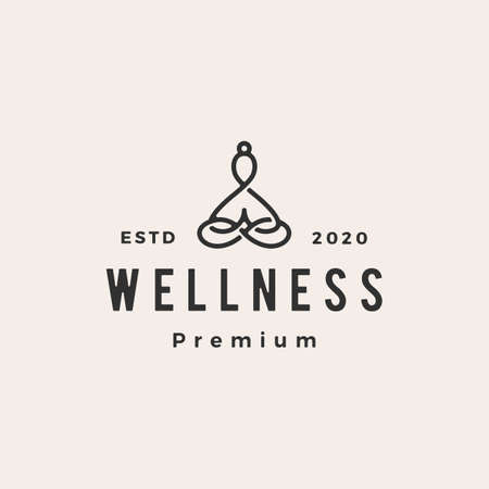 yoga wellness hipster vintage logo vector icon illustration
