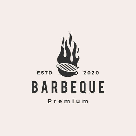 barbeque charcoal grill hipster vintage logo vector icon illustration