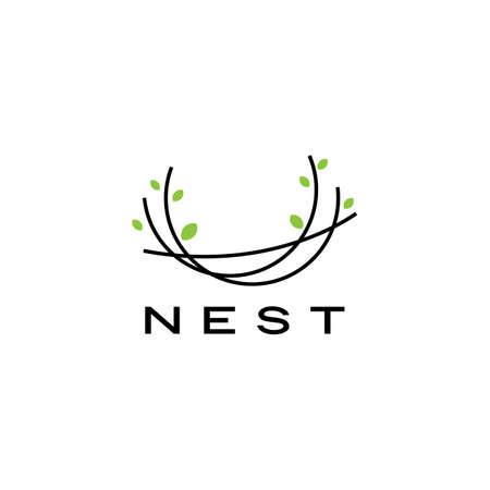 bird nest logo vector icon illustration Logos