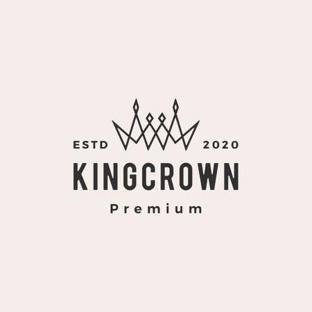 crown hipster vintage logo vector icon illustration