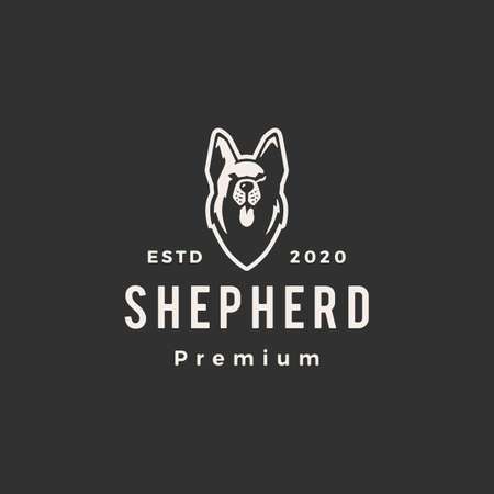 german shepherd dog hipster vintage logo vector icon illustration