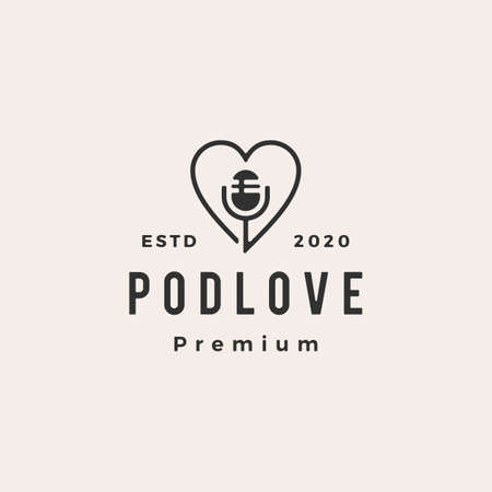 podcast love hipster vintage logo vector icon illustration 일러스트
