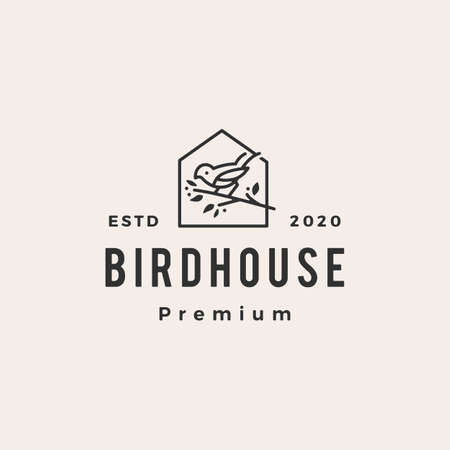 bird house hipster vintage logo vector icon illustration
