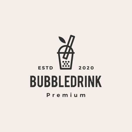 bubble drink boba hipster vintage logo vector icon illustration 일러스트