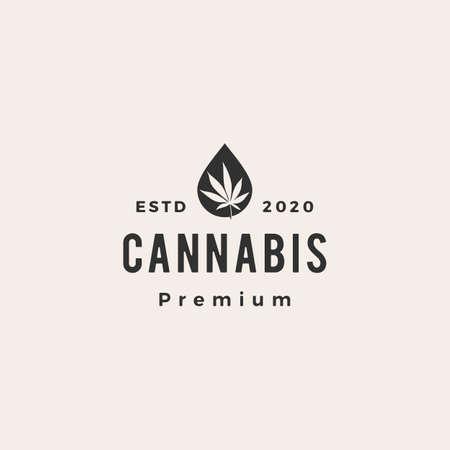 cannabis oil hipster vintage logo vector icon illustration
