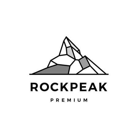 rock peak mount stone logo vector icon illustration
