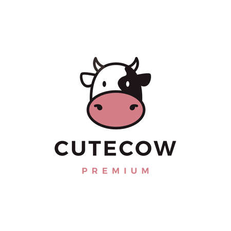 cute cow logo vector icon illustration Logo