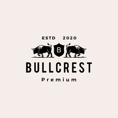 bull coat of arms hipster vintage logo vector icon illustration