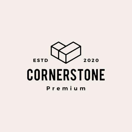 cornerstone hipster vintage logo vector icon illustration