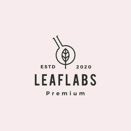 leaf lab labs hipster vintage logo vector icon illustration