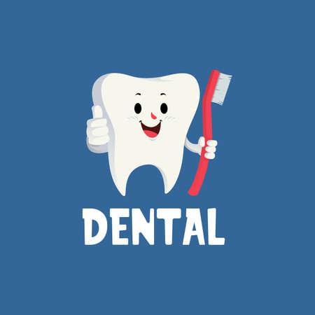 dental tooth thumb up mascot character logo vector icon illustration