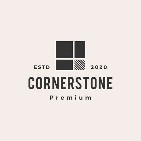 cornerstone hipster vintage logo vector icon illustration 向量圖像