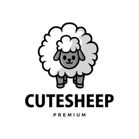cute sheep cartoon logo vector icon illustration