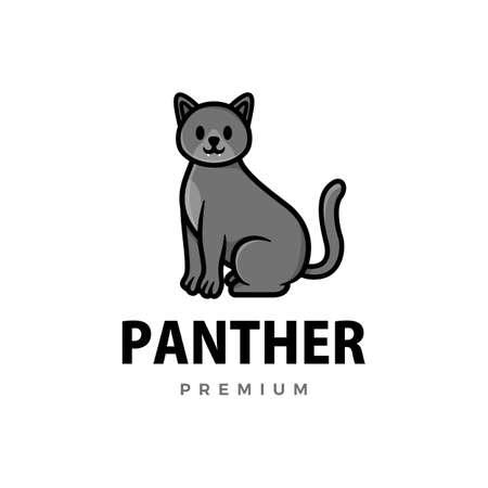 cute panther cartoon logo vector icon illustration