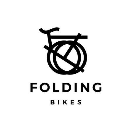 folding bike logo vector icon illustration