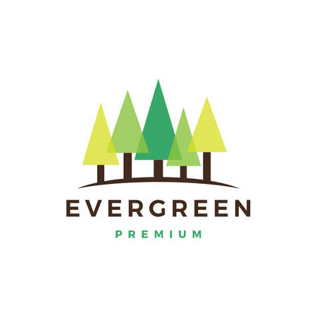 pine evergreen fin hemlock logo vector icon illustration