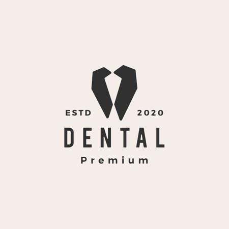dental hipster vintage logo vector icon illustration